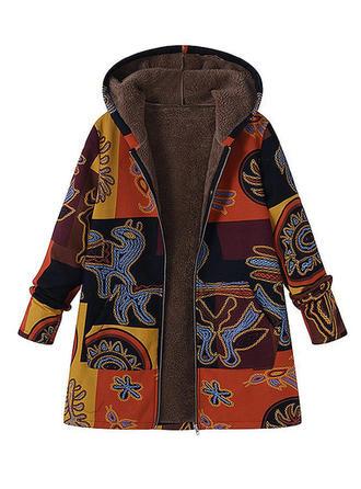 Bawełna Długie rękawy Wydrukować Mieszanki Płaszcze