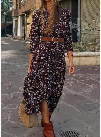 Print 3/4 Sleeves A-line Casual Midi Dresses