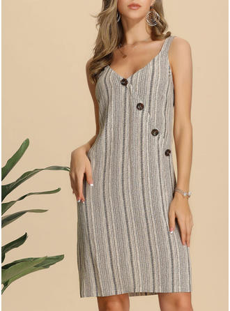 Striped Sleeveless Sheath Knee Length Casual/Vacation Dresses