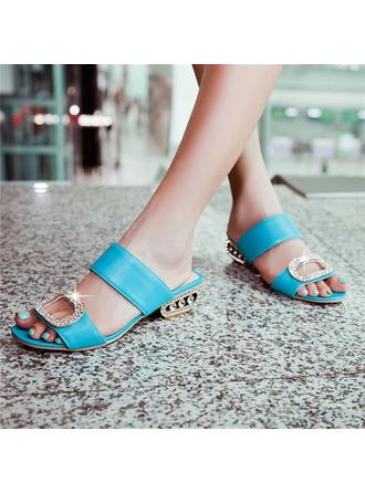 Frauen PU Stöckel Absatz Sandalen Peep Toe mit Perlstickerei Schuhe