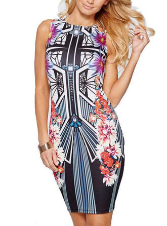 Print/Floral Sleeveless Bodycon Above Knee Sexy Dresses