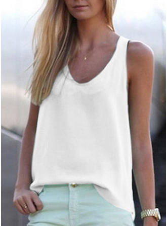 Solid V Neck Sleeveless Casual Blouses