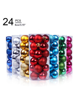 "Merry Christmas 24 PCS 3.15"" PVC Christmas Décor Ball (Set of 24)"
