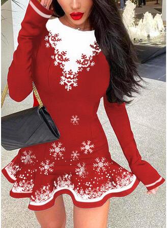 Christmas Print/Color Block Long Sleeves A-line Above Knee Elegant Skater Dresses