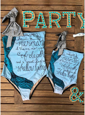 Mommy and Me Letter Print Matching Swimsuit