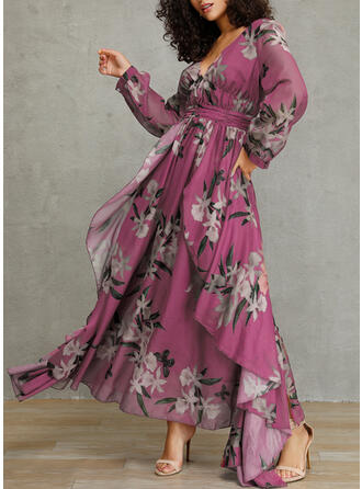 Print/Floral Long Sleeves A-line Casual/Elegant/Vacation Maxi Dresses
