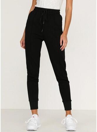 Solid Long Casual Sporty Shirred Drawstring Pants