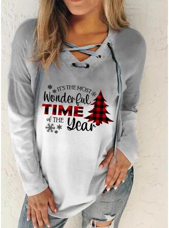 Print Grid Figur V-hals Lange ærmer Jule sweatshirt