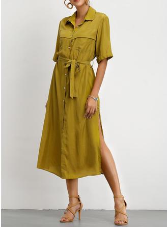 Einfarbig 1/2 Ärmel A-Linien Freizeit Midi Kleider