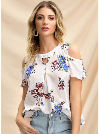 Print Cold Shoulder Short Sleeves Casual Elegant Blouses
