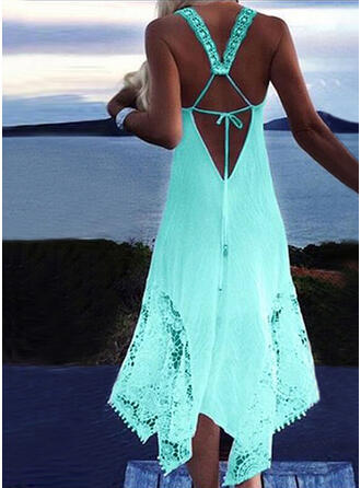Solid Color Halter Sexy Bohemian Cover-ups Swimsuits