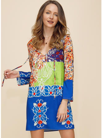 Print Long Sleeves Shift Above Knee Vacation Dresses