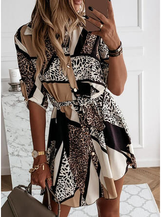 Leopard 1/2 Sleeves A-line Above Knee Casual Dresses