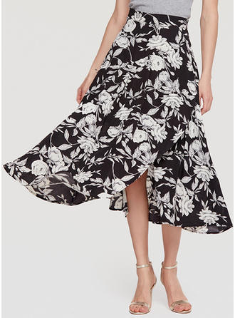 Polyester Floral Mid-Calf A-Line Skirts