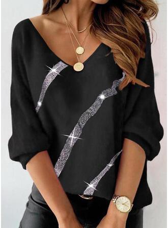 Print Sequins V-Neck Long Sleeves T-shirts