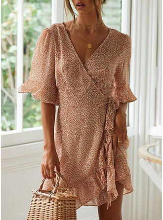 Print 3/4 Sleeves/Flare Sleeves Sheath Above Knee Casual/Vacation Dresses