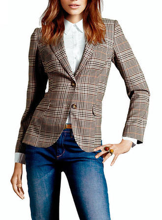 Blends Long Sleeves Houndstooth Blazers