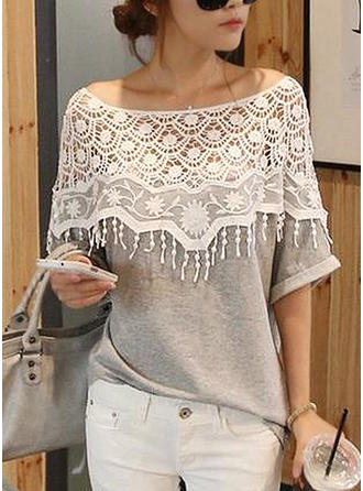 Cotton Boat Neck Lace 1/2 Sleeves Casual Blouses