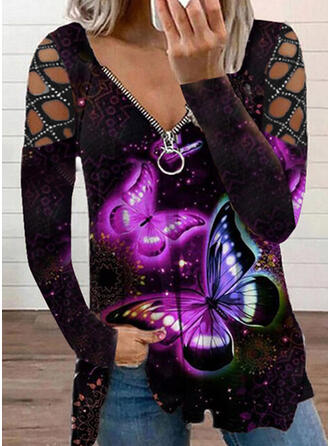 Butterfly Cold Shoulder Long Sleeves T-shirts