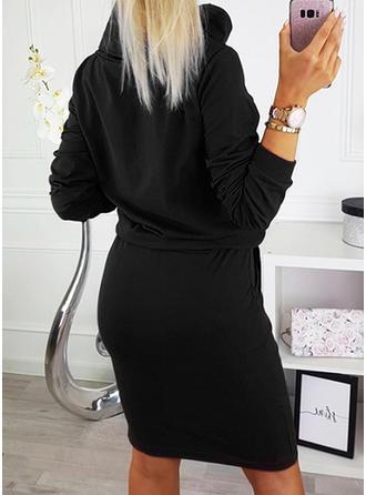 Pevný Dlouhé rukávy Přiléhavé Délka ke kolenům Neformální Šaty