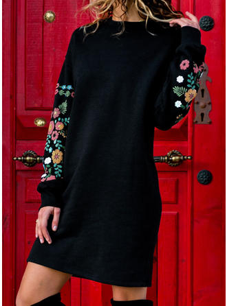 Embroidery/Solid Long Sleeves Shift Above Knee Casual/Vacation Dresses