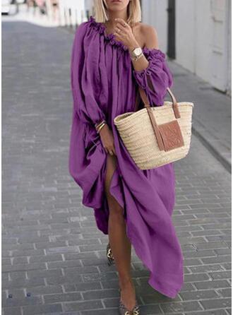 Solid Long Sleeves Shift Casual/Vacation Maxi Dresses