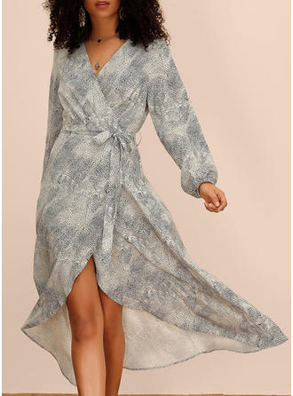 Print 1/2 Sleeves/Long Sleeves A-line Asymmetrical Casual/Vacation Dresses