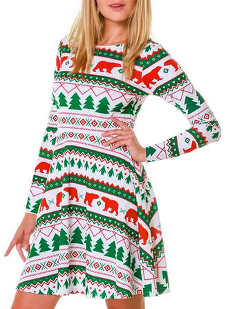 Print Long Sleeves A-line Above Knee Christmas/Casual/Elegant Dresses