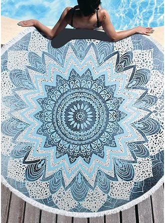Geometrische Print te groot/ronde strandlaken