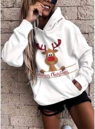 Dyr Figur Lommer Lange ærmer Jule sweatshirt