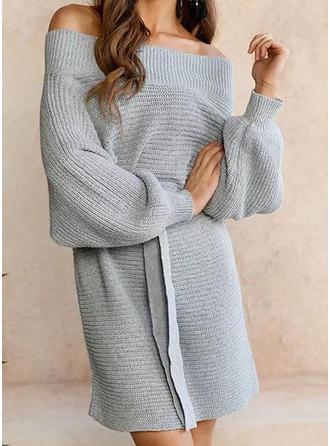 Coton Off the Shoulder Couleur unie Robe Pull