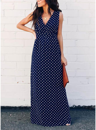 PolkaDot Sleeveless A-line Maxi Sexy/Party Dresses