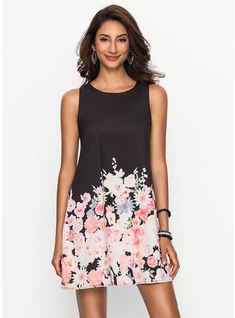 Floral Round Neck Above Knee Shift Dress