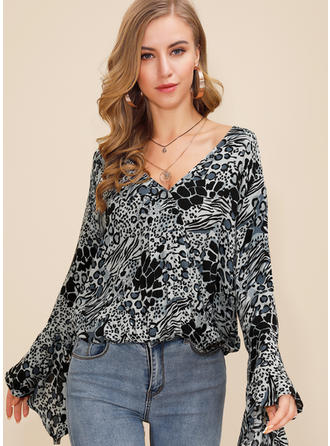 Print V neck Flare Sleeve Long Sleeves Casual Blouses