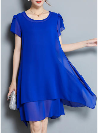 Solid U Neck Knee Length Shift Dress (Two Pieces)
