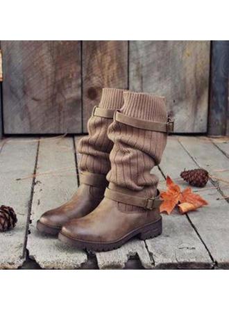Mulheres Couro Salto robusto Botas Botas na panturrilha Martin botas Toe rodada com Fivela Divisão separada sapatos