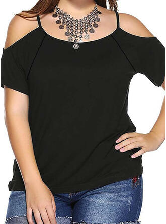 Solid Cold Shoulder Short Sleeves Plus Size T-shirts