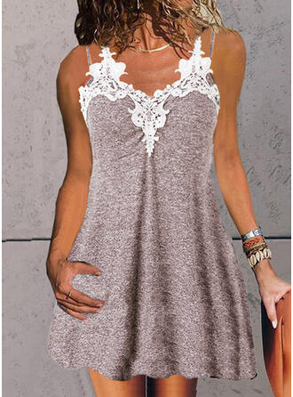 Lace Sleeveless Shift Above Knee Casual/Vacation Dresses