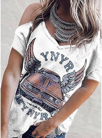 Nadruk Odkryte ramię Krótkie rękawy Casual T-shirty
