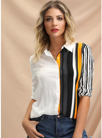 Stripet Jakkeslag Lange ermer Button up Casual Elegant Skjortebluser