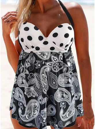 Dot Print Push Up Halter V-Neck Vintage Swimdresses Swimsuits