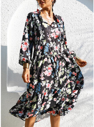 Print/Floral 1/2 Sleeves Shift Tunic Casual/Vacation Midi Dresses