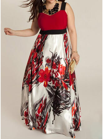 Print/Floral Sleeveless A-line Casual/Plus Size Maxi Dresses