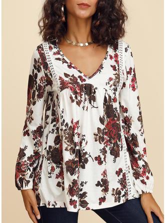 Распечатать Цветочный V-образный вырез Длинные рукова Повседневная Блузы