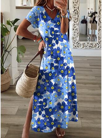 Print/Floral Short Sleeves Shift T-shirt Casual/Vacation Maxi Dresses