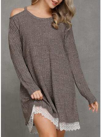 Solid Long Sleeves Shift Above Knee Casual Tunic Dresses (199277881)