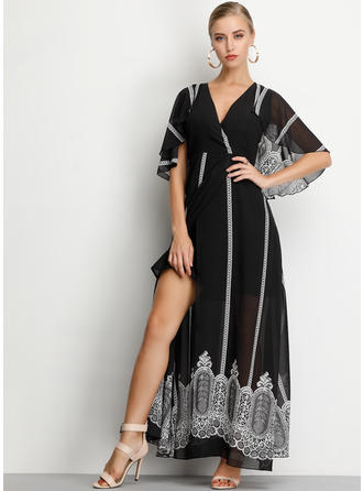Print 1/2 Sleeves A-line Maxi Casual/Vacation Dresses