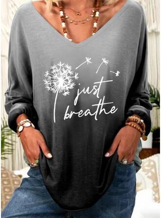 Print Figure Dandelion Gradient V-Neck Long Sleeves Casual T-shirts
