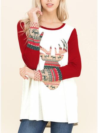 Polyester Print Christmas Christmas Sweatshirt