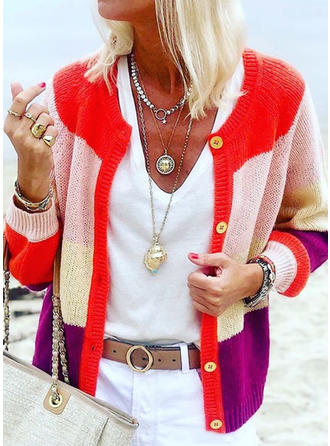 Polyester Long Sleeves Color Block Ribbed Cardigans
